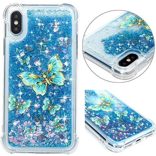 (iPhone X Case, iPhone Xs Case, Clear Bling Sparkle Slim Phone Case Soft Flexible TPU Shockproof Full Body Protective Shield Anti-Scratch Rubber Bumper Cover for iPhone X/Xs - Blue Flying Butterfly)