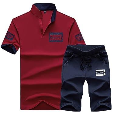 ANDYOU-Men Color sólido de ocio de primavera y verano pantalones ...