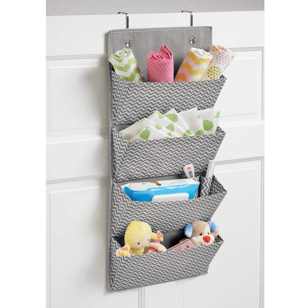 mDesign Soft Fabric Wall Mount//Over Door Hanging Storage Organizer Chevron Zig-Zag Print Gray//Cream MetroDecor 0196MDBEU Hooks Included 4 Large Pockets for Child//Kids Room or Nursery