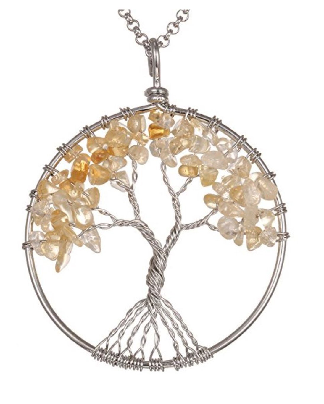 Top Quality Tree of Life Chakra Pendant Necklace Natural Citrine Gemstone Chakra Jewelry 26''-28'' Stainless Steel Chain Great Gift GGP9-15