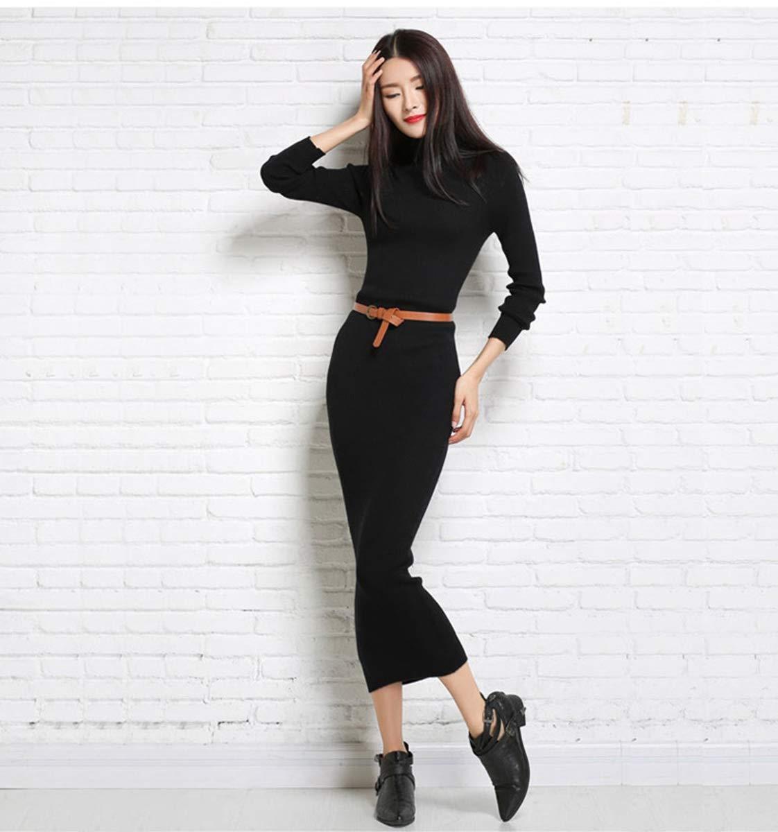 Dresses Women\'s Maxi Dress Turtleneck Cashmere ankle length dress Long Sleeve Slim Fit Stretchable Elasticity (One Size, 1325 Black)