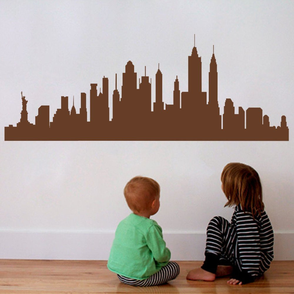 Amazon com mairgwall new york city skyline silhouette wall decal custom vinyl art stickers x largebrown home kitchen