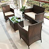 Merax® 4 PCS Patio Rattan Furniture Set Cushioned Outdoor Garden Wicker Rattan furniture with Beige Cushion (Brown-NO.2)