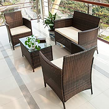 Merax 4 PCS Patio Rattan Furniture Set Cushioned Outdoor Garden Wicker  Rattan furniture with Beige Cushion  Brown NO 2. Amazon com   Patio Furniture Set Clearance Rattan Wicker Dining