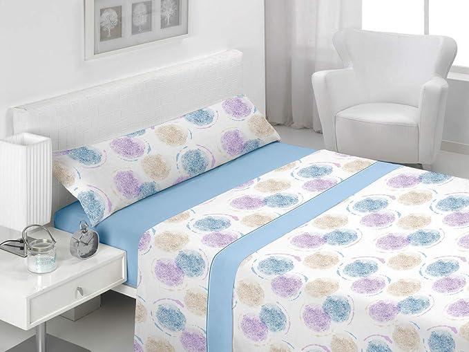 Basic Home Juego de sábanas 3 Piezas 100% algodón Amsi Azul Cama ...