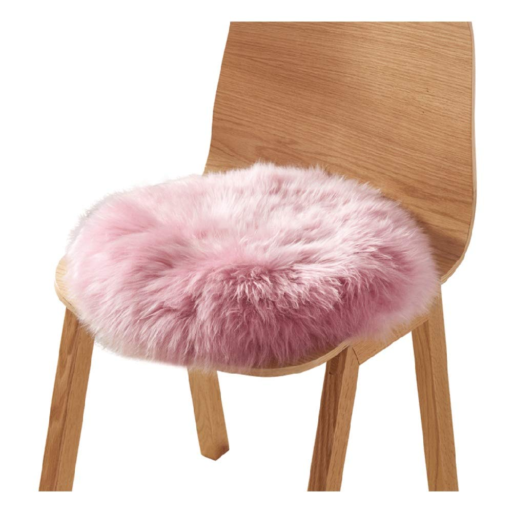 Round Seat Cushion Fur Sheepskin Silky Plush Bar Stool Protector Comfortable for Home Decor Dining Room Office Round Chair Covers (Color : Pink, Size : Diameter 50 cm) by CIECC