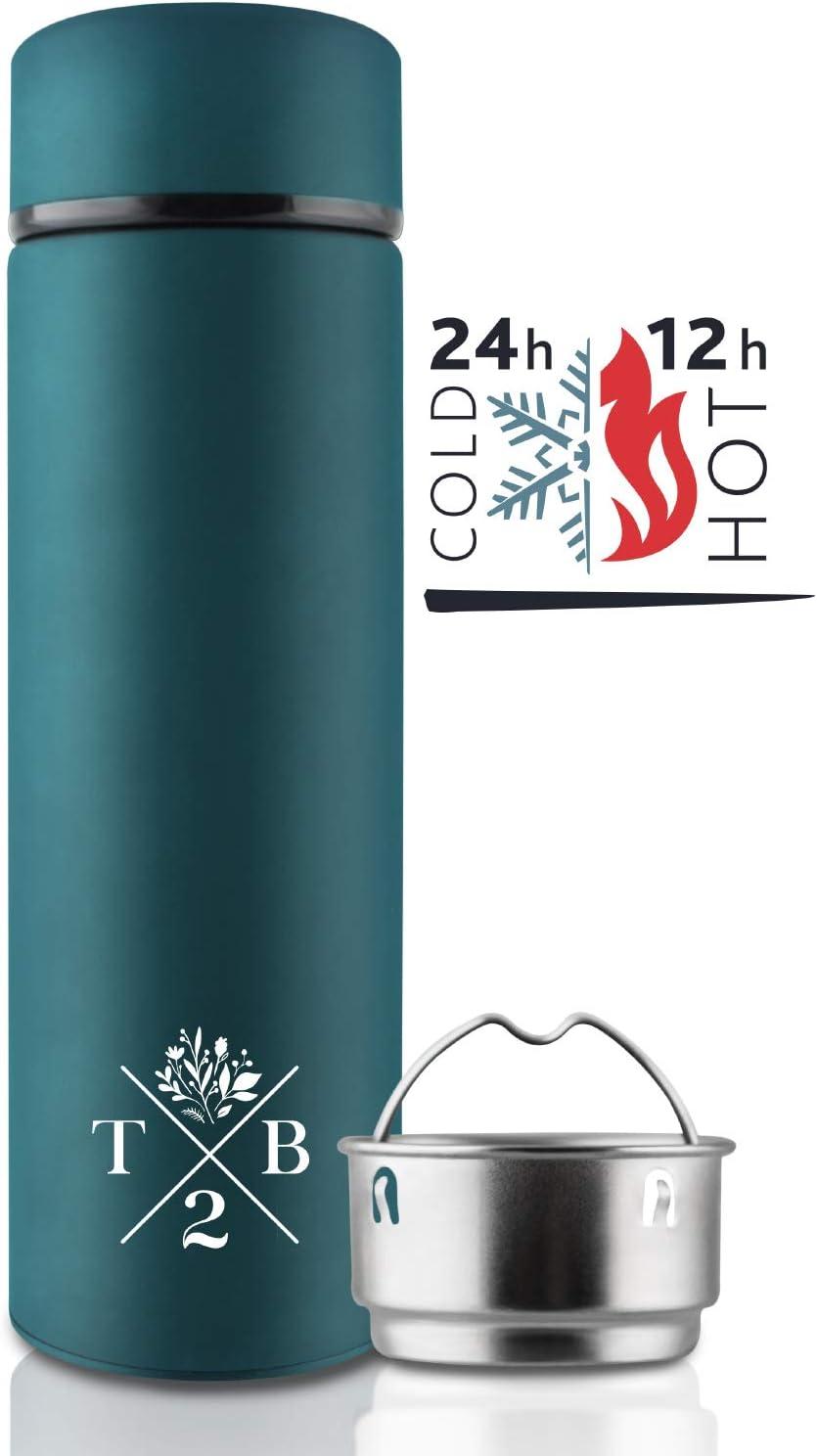 T2B Botella de Termo 24h frío / 12h Caliente - Botella de té frío con infusor de Fruta, Doble Pared aislada, Inoxidable - 100% estanca, Botella para Beber en Azul, 500ml