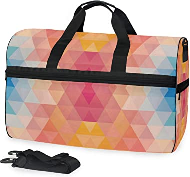 Travel Duffels Geometric Tiling Pattern Duffle Bag Luggage Sports Gym for Women /& Men