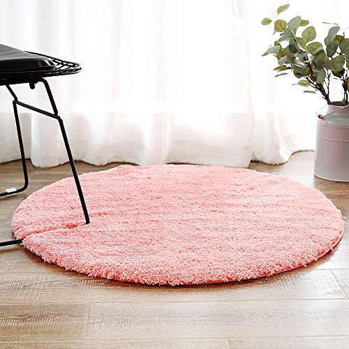 LEEVAN Contemporary Plush Area Rug Super-Soft Microfiber Non-slip Rubber Backing Shaggy Round Rugs Floor Mat Shag Rug (3 ft, Coral Red) - Red Kids Shag Rug