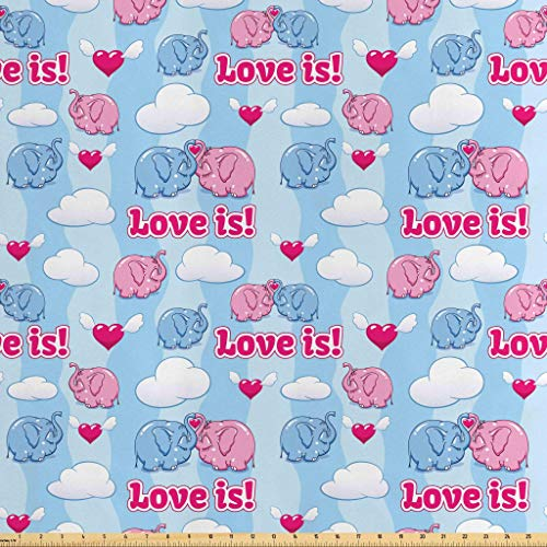Wing Stripes Slipcover - Lunarable Animal Fabric by The Yard, Two Enamored Baby Elephant in Love Cloudy Wings Animals Vertical Stripes Background, Decorative Satin Fabric for Home Textiles and Crafts, 1 Yard, Pink Blue