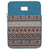 BLOOMSTAR 15 Inch Bohemian Canvas Protective Laptop Sleeve Bag Notebook Case Cover for MacBook, Chromebook, Acer, Dell, HP, Samsung, Sony (Vertical, Blue)