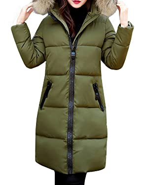 StyleDome Women's Casual Padded Zipper Pockets Faux Fur Hooded Long Parka Coat Army Green US 10