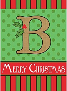 Magnolia Garden B Monogram Festive Red Green 18 x 13 Polyester Burlap Christmas Outdoor Flag