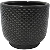 "Amazon Brand – Stone & Beam Textured Stoneware Planter, 6.25""H, Black"