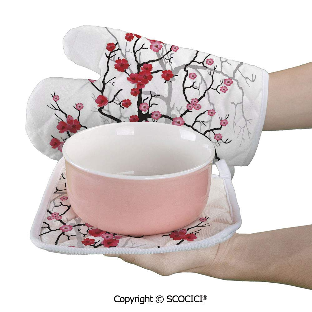 SCOCICI Oven Mitts Glove - Japanese Plant Sakura Flower with Abstract Backdrop Heat Resistant, Handle Hot Oven Cooking Items Safely