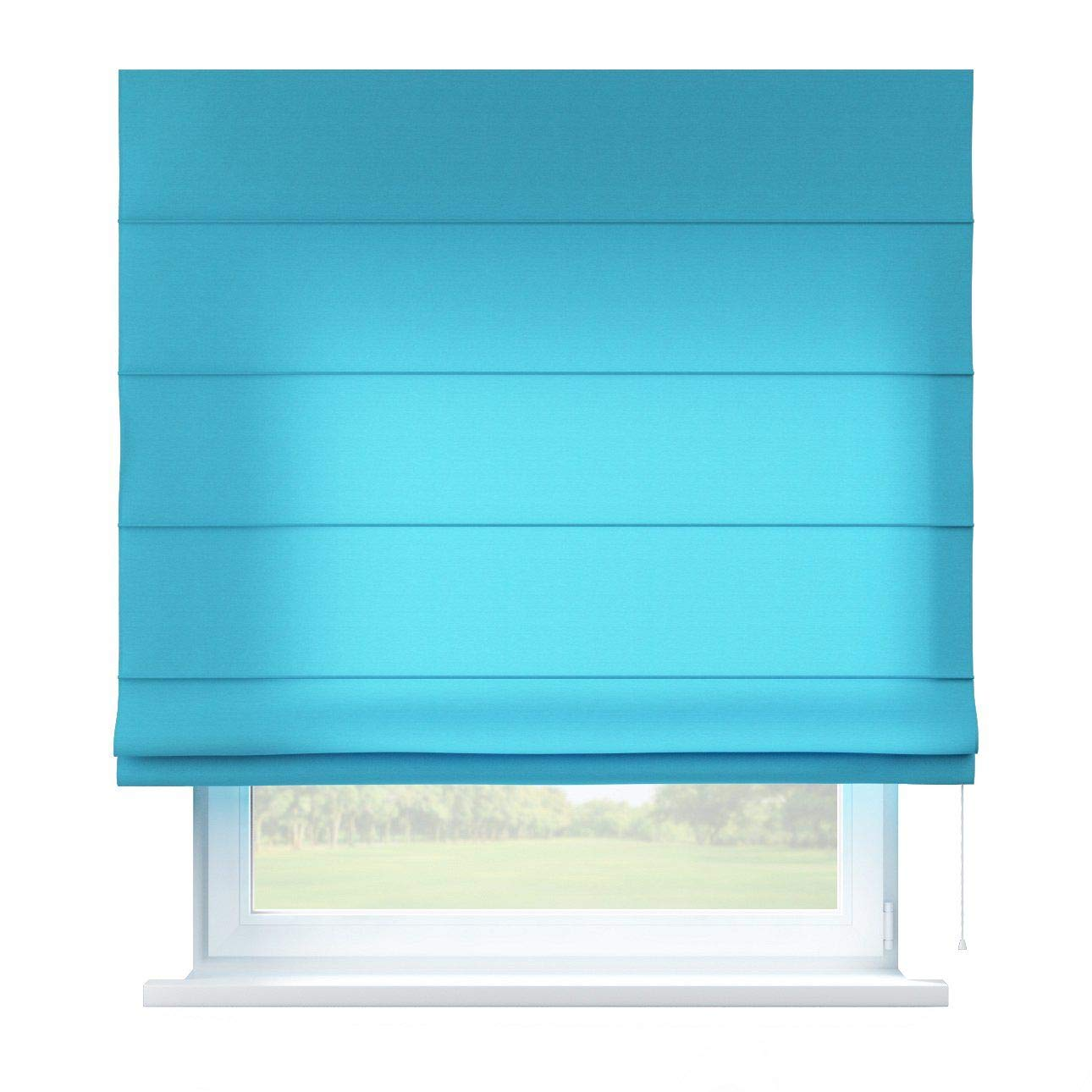 Dekoria Raffrollo Capri ohne Bohren Blickdicht Faltvorhang Raffgardine Wohnzimmer Schlafzimmer Kinderzimmer 80 × 170 cm azurblau Raffrollos auf Maß maßanfertigung möglich
