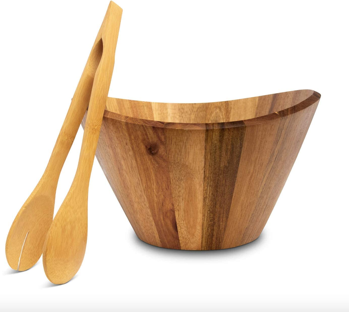Stuart Smith Wooden Salad Bowl - Large All Natural Acacia Wood Salad Bowl Serving Set with Tongs for Fruits or Salads