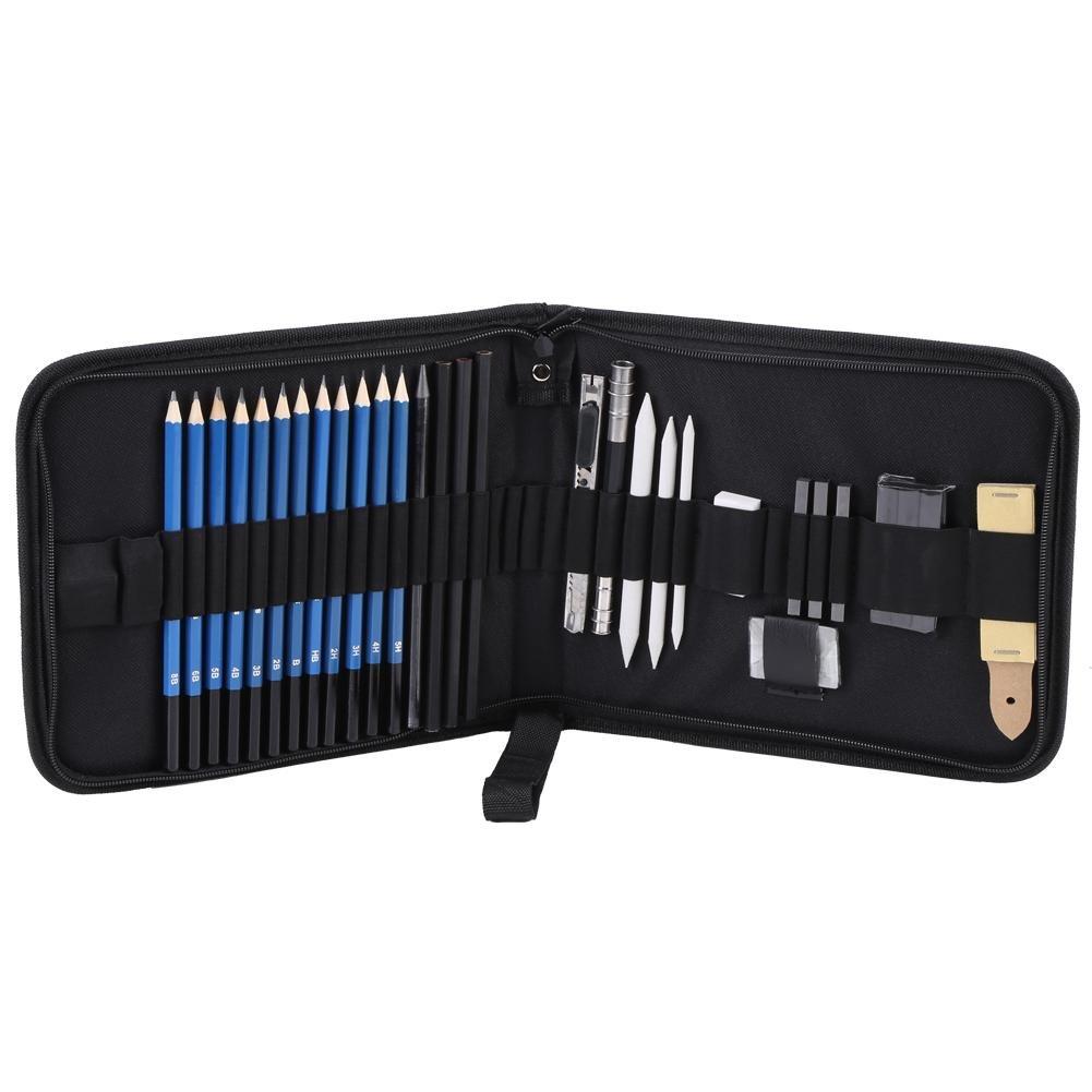Hilitand 33pcs H & B Professional Dessin Esquisses Crayons Kit Set Art Fournitures Art Outils de Peinture et Kit Sac Graphite Charbon De Crayons Ensemble