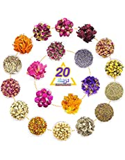 20 Bags Natural Dried Flower Herbs Kit, 200g Dried Flowers for Bath, Soap Making Kit, Resin, Candle Making Supplies, Spellwork - Peony Flower, Lily, Phnom Penh Rose, Lavender, Marigold and More