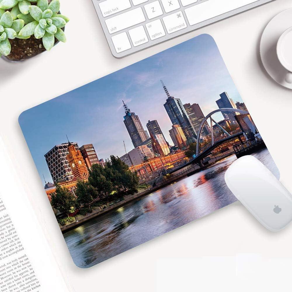 Alfombrilla para ratón 32x 25 cm,Ciudad, paisaje temprano en la mañana en Melbourne, Australia, famoso río Yarra,Goma Impermeable Cojín de Ratón Antideslizante Mousepad para Ordenador Portátil Oficina