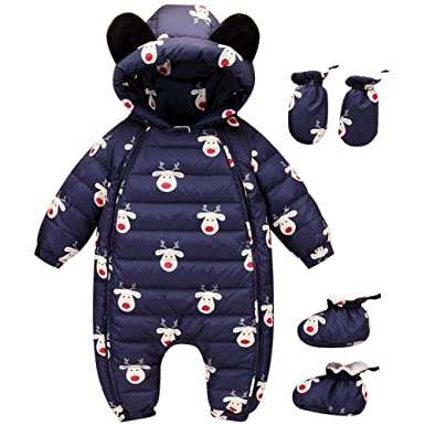 494b49e5b Amazon.com  Happy childhood 0-24M Baby Warm Rompers Winter Infant ...
