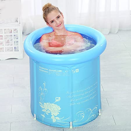 Etonnant Tinksky Adult Portable Folding Bathtub Super Thick PVC Cylindrical  Inflatable Plastic Bathtub With Cushion (