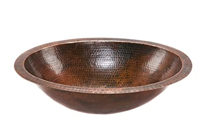 Premier Copper Products LO19FDB Oval Under Mount Hammered Copper ...