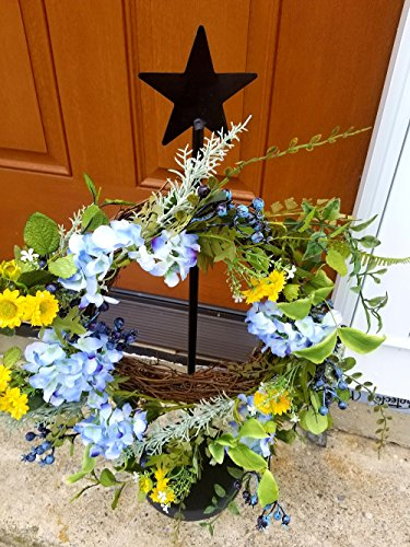 Wrought Iron Standing Wreath Hanger With Star - Hand Made By Amish Of Lancaster County PA. - Wreath Not Included