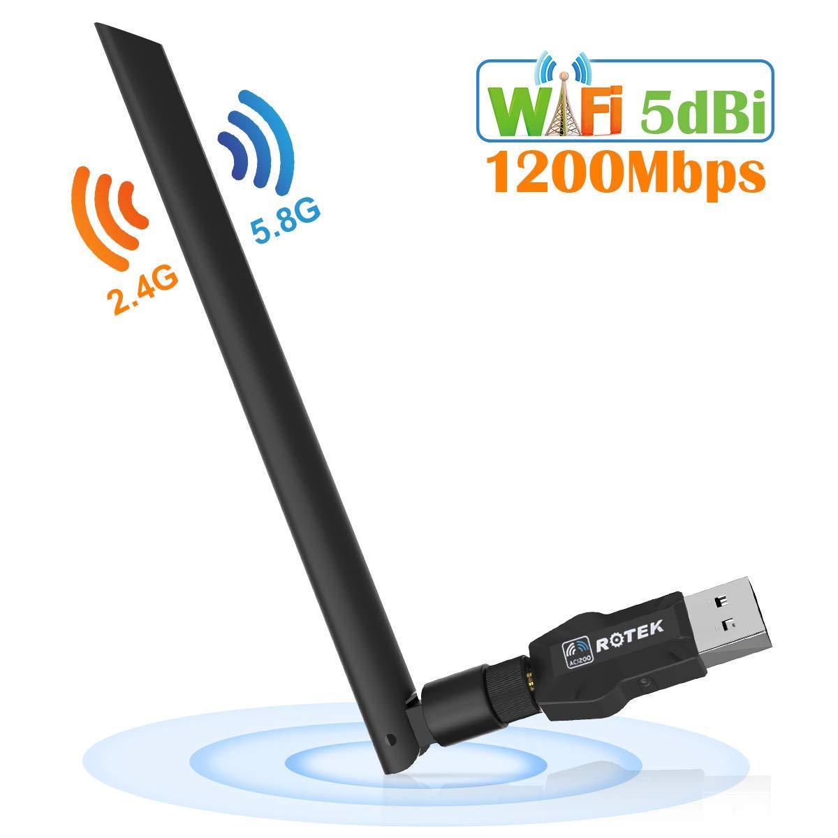 ROTEK Adaptador USB WiFi 1200 Mbps, USB 3.0 WiFi Dongle Adaptador con 5dBi Antena, Dual Band 5G/867Mbps + 2.4G/300Mbps, Soporte Windows XP/Vista/7/8/10, Mac OS Shen Zhen Rui Sheng Ke Ji You Xian Gong Si