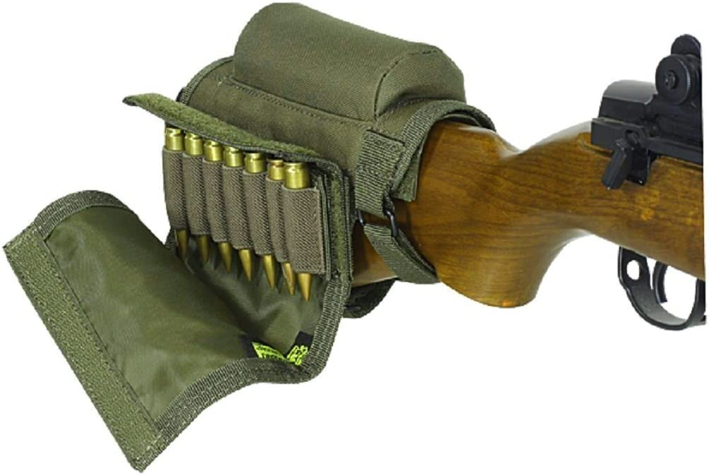 Wsobue Bolsa de Culata,T/áctica Bolsa de munici/ón Cresta de mejillas de Almohadilla de Escopeta Ajustable port/átil para 7 Balas