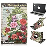Galaxy Tab E T560 Case, Vintage Floral Eiffel Towel Folding Folio 360 Degree Rotating Stand Cover with for Samsung Galaxy Tab E T560 9.6 inches [SM-T560] (Beautiful Antique)