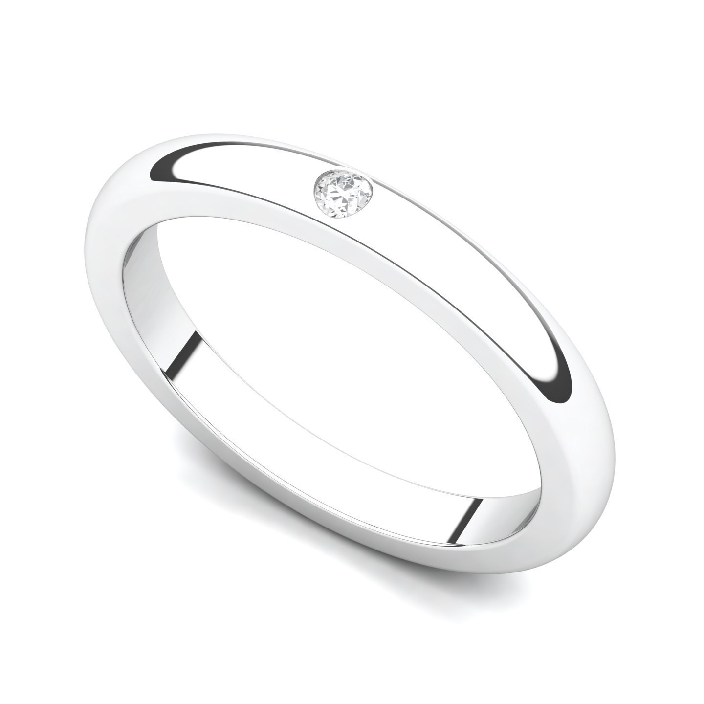 14k White Gold Bezel set Diamond Wedding Band Ring (G-H/SI, 0.03 ct.), 5