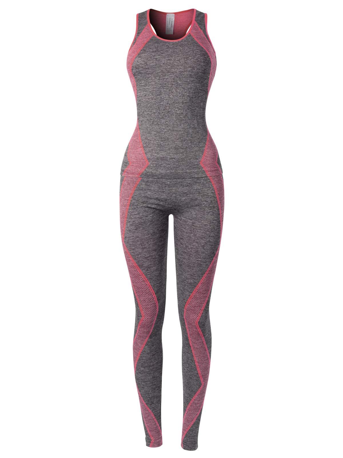 MixMatchy Women's Sports Gym Yoga Workout Activewear Sets Top & Leggings Set Grey/Hot Pink ONE by MixMatchy