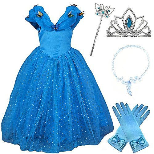 2015 New Cinderella Butterfly Party Dress Costume with Accessories (6-7) (Cinderella Costume For Kids)