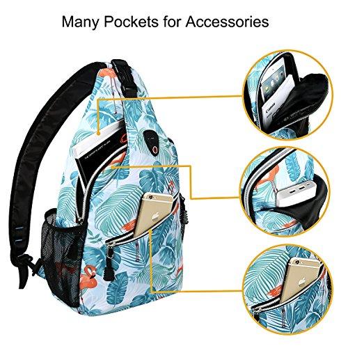 MOSISO Sling Backpack, Polyester Crossbody Shoulder Bag for Men Women Girls Boys, Flamingo by MOSISO (Image #1)