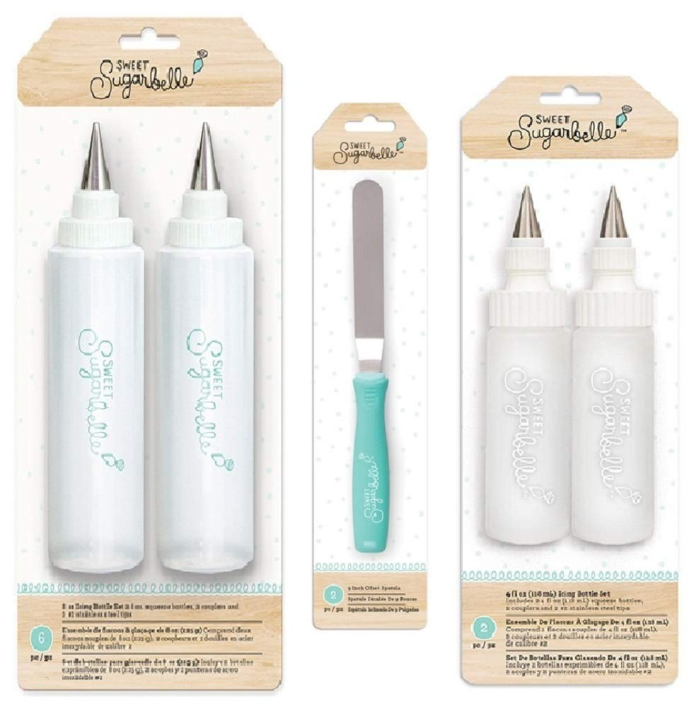 Sweet Sugarbelle Icing Squeeze Bottles With Tips and Angled Spatula | Bundle Includes 1 Pack 4-Ounce Bottle, 1 Pack 8-Ounce Bottle, 1 Offset Spatula | For Cake, Cookie, Pastry, Baking, Frosting