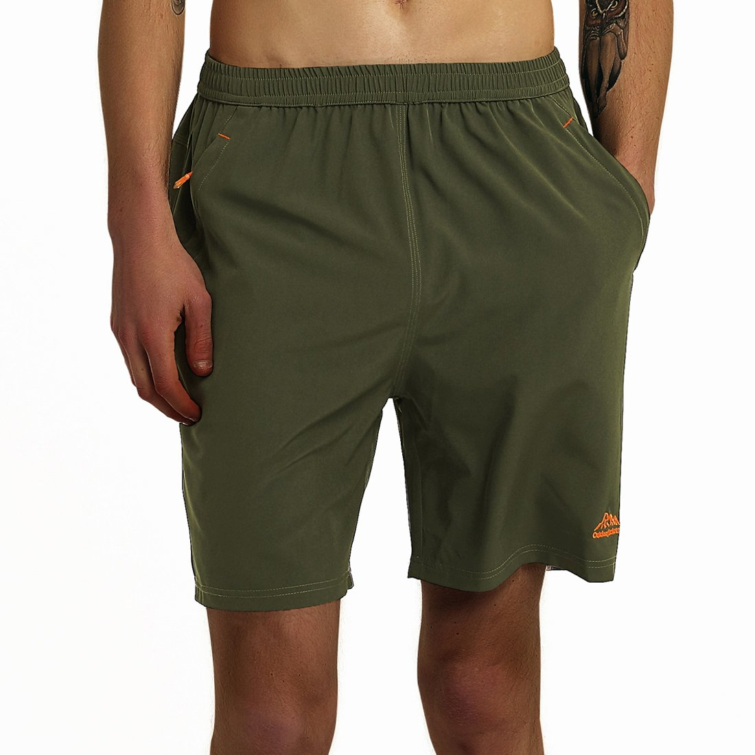 SuperArt Men\'s Gym Shorts Outdoor Sports Running Beach Shorts Lightweight Quick Dry Shorts Reflective with Zipper Pockets (ArmyGreen, Large)