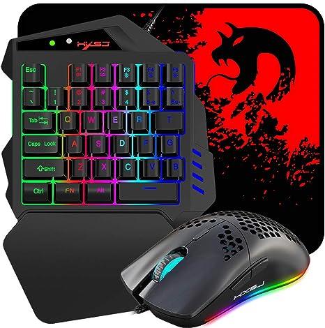 Combo de teclado y mouse para juegos con una sola mano, teclado de interfaz USB dual con cable, retroiluminación RGB con reposamuñecas+mouse con ...