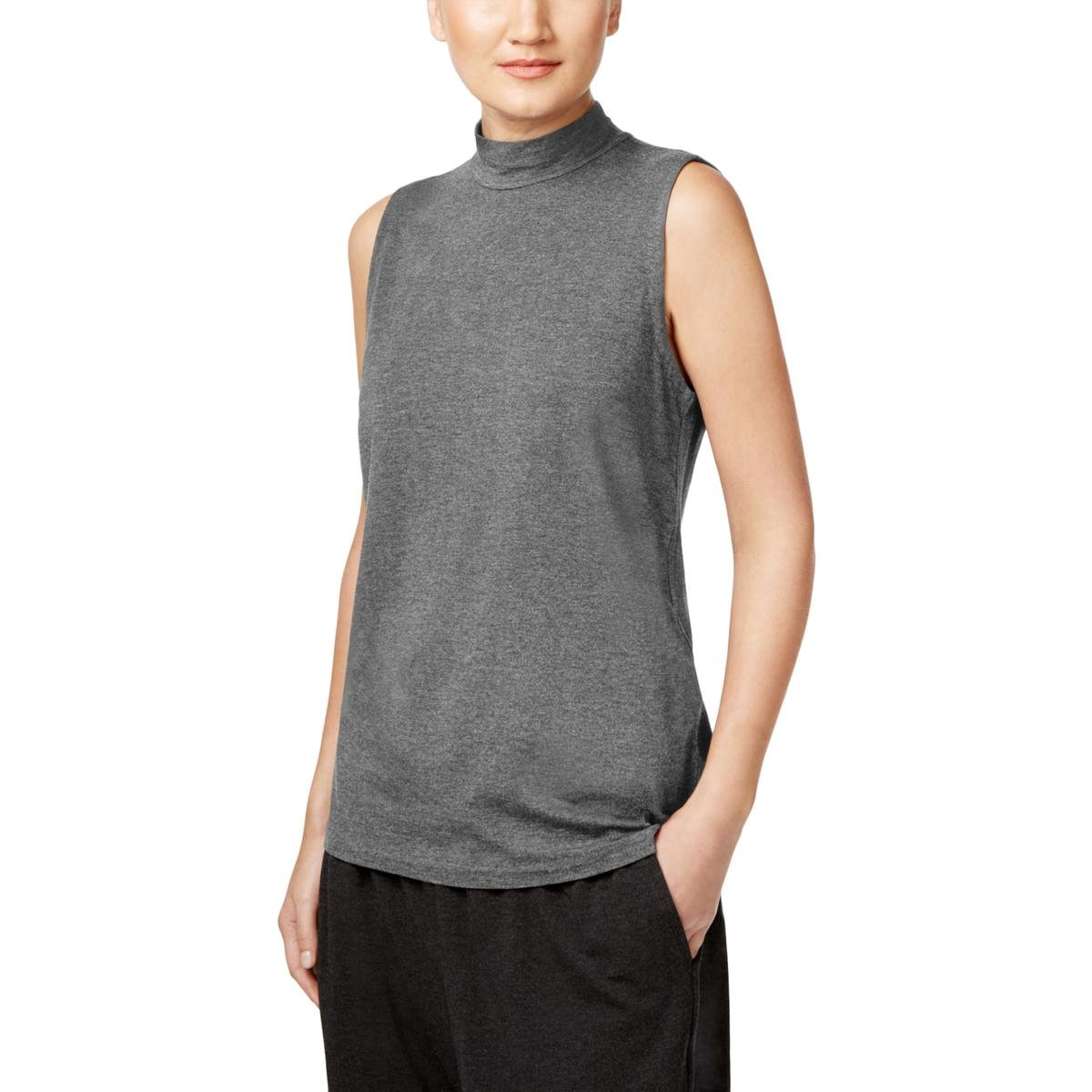 Eileen Fisher Womens Mock Neck Sleeveless Casual Top Gray S