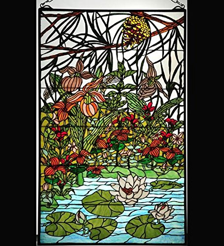 Meyda Tiffany 77661 Tiffany Rectangular Stained Glass Window Pane from the Woodl, Solid Brass ()