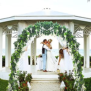 5 Strands 32.8 ft Artificial Silk Wisteria Vine Ratta Ivy Garland Wisteria Artificial Flowers Hanging Plants Vines Faux Greenery Fake Green Leaf Garland for Wedding Kitchen Home Party Decor 2