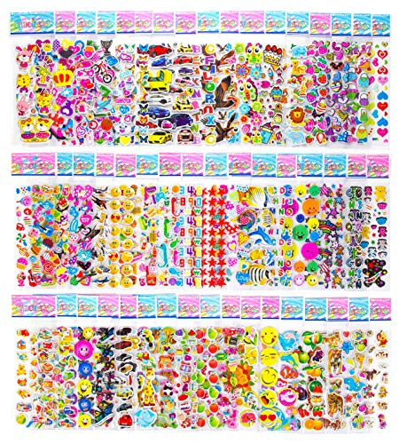 - Stickers for Toddlers - 50 Different Sheets 3D Puffy Stickers for Kids Teachers Girls Boys Bulk Stickers Including Emoji Smiley Face Animals Numbers Alphabets Hearts and More