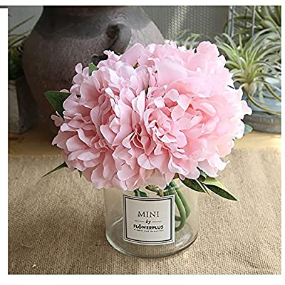 Missblue Artificial Rose Flowers with Vase,FakeSilk Pink Bouquet with Glass Jar Home Rope for Wedding Proposal Bride Home Decoration and The Best Gift