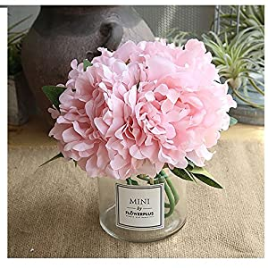 Missblue Artificial Rose Flowers with Vase,FakeSilk Pink Bouquet with Glass Jar Home Rope for Wedding Proposal Bride Home Decoration and The Best Gift 64