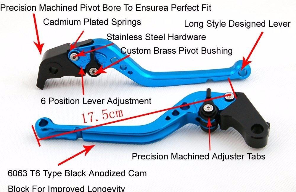 Niree Long Brake Clutch Levers for Honda VFR800 1998-2001 CBR1100XX / BLACKBIRD 1997-2007 ST1300/ST1300A 2003-2007 black by Niree
