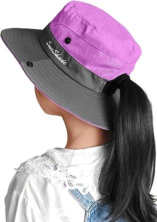 Kids UV Sun Hat with Ponytail Hole UPF 50 Bucket Cap for Girls Summer Beach & Fishing