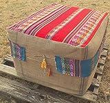 Burlap Peru Inca Ottoman Slipcover