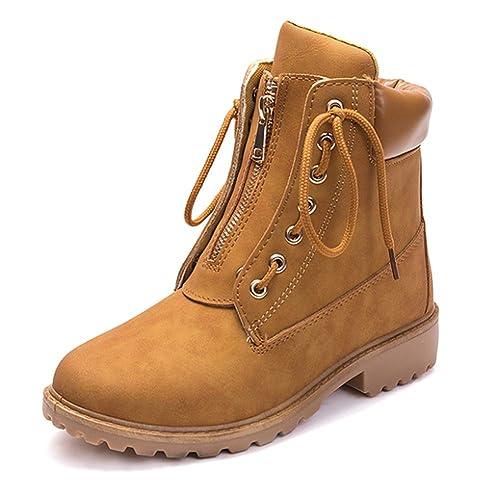Gtagain Invierno Botines Planos para Mujer - Zapatos con Cordones Botas Nieve Mujer Otoño Invierno Calentar Piel Forro Botines Retro Boots Cordones ...