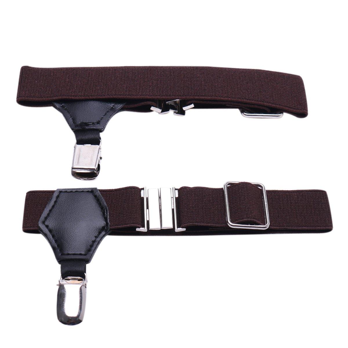 YiZYiF Men's Sock Garters Belt Suspender with Non-slip Double Clips Brown