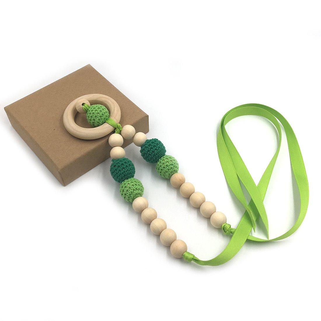 Agua Coskiss Collares de ganchillo Collar de dentici/ón de beb/é Collar de dentici/ón seguro con juguete de madera natural org/ánica Mam/á Collar de dientes de madera para ni/ños